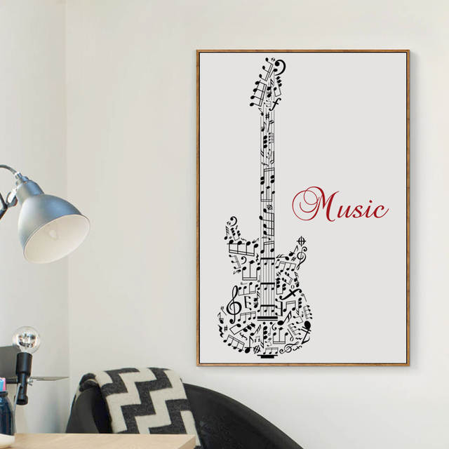 Us 2 89 41 Off Elegant Poetry Black White Music Symbol Abstract Guitar A4 Canvas Painting Art Print Poster Picture Wall Paintings Home Decor In