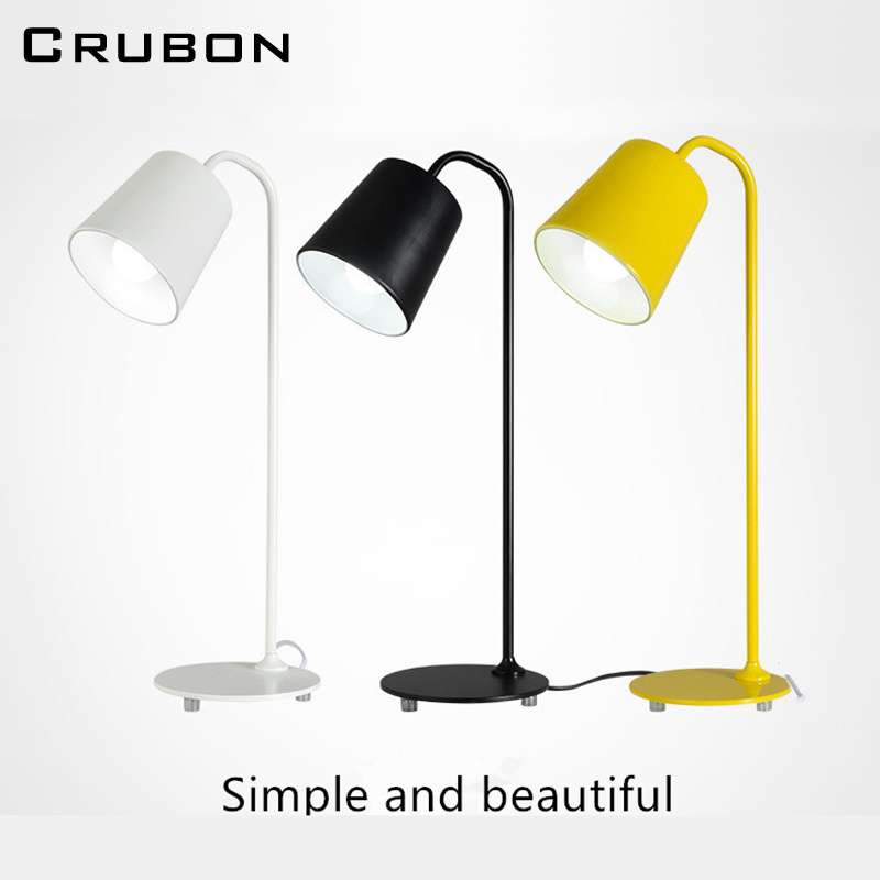 CRUBON Nordic Modern Simple Desk Lamp Iron Eye Study Reading Work Led Table Lamp With E27 Socket Creative Personality Desk Lamp 250616 computer desk and desk style modern simple desk with bookcase desk simple table solder edge e1 grade sheet material