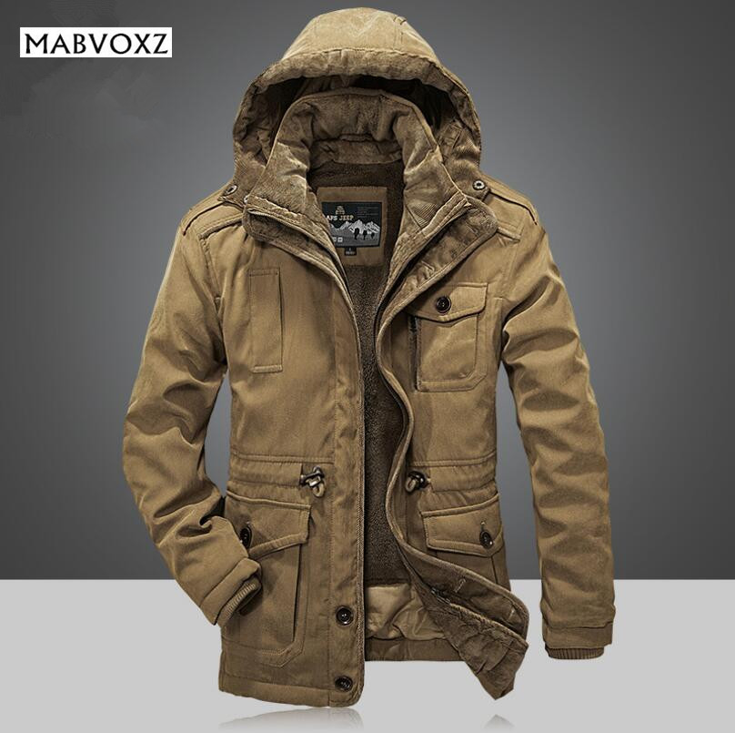 -30 Degree Winter Coat Men Jackets New 2018 Plus Size 4XL Brand AFSJeep warm Thick Coats Military Vintage Style Mens Clothing free shipping 2017 winter warm dhl brand clothing vintage jackets mens genuine pakistan cow leather biker jacket plus size