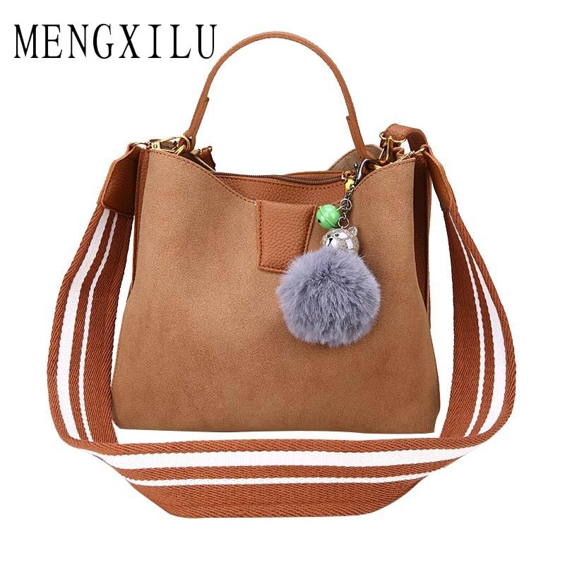 MENGXILU Fashion Bucket Women Handbags Pu Leather Shoulder Bags For Women Fur Ball Bags Casual Tote Bags Wide Strap Sac A Main