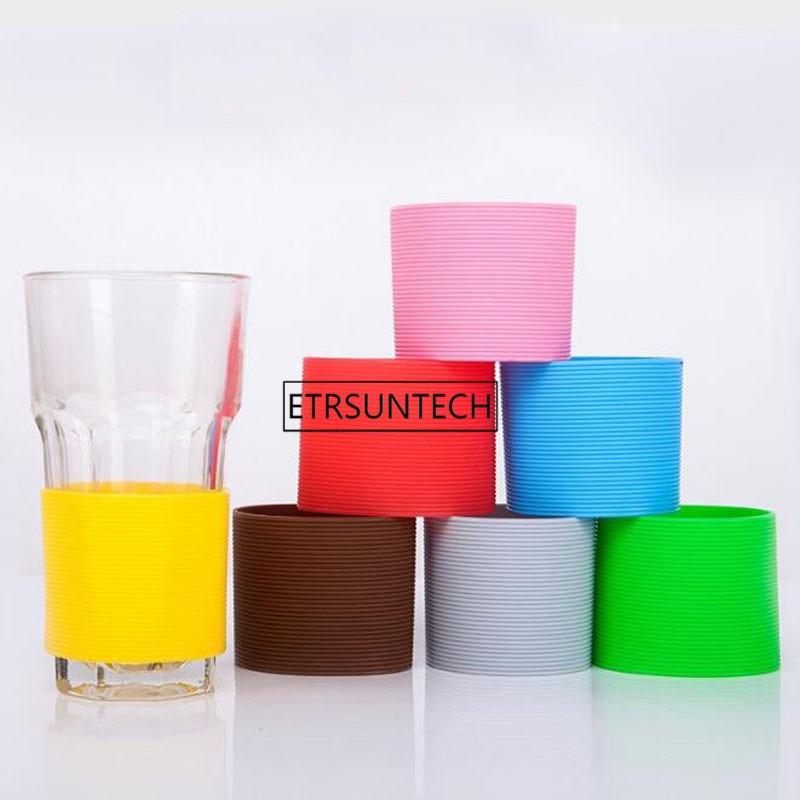 Ev ve Bahçe'ten Su Şişesi ve Bardak Aksesuarları'de Düz Renk Silikon Isıya dayanıklı kupa kılıfı Koruyucu kaymaz Su Bardağı Kapağı Şişe Kupa'da  Grup 2