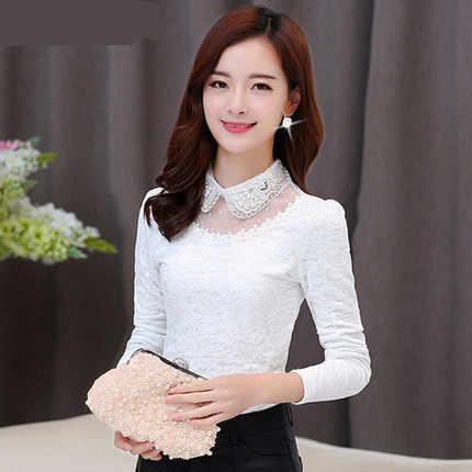 Весенне-осенняя рубашка с кружевным низом, женская модная рубашка с длинными рукавами, топ в кукольном стиле с бусинами, новинка 2019, женская рубашка, большие размеры, 4XLCH847