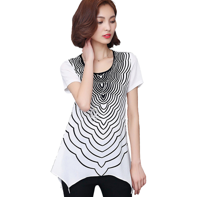 Women Tops And Blouses 2016 New Fashion Summer Style Short Sleeve Chiffon Blouse Striped Plus Size Women Clothing Blusa Feminina