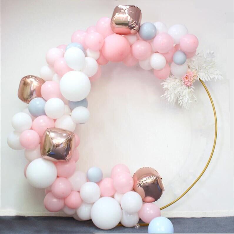 Baby party bruiloft props decor smeedijzeren ronde ring boog achtergrond ronde boog gazon zijde kunstmatige bloem rij stand muur plank-in Kunstmatige & Gedroogde Bloemen van Huis & Tuin op  Groep 3