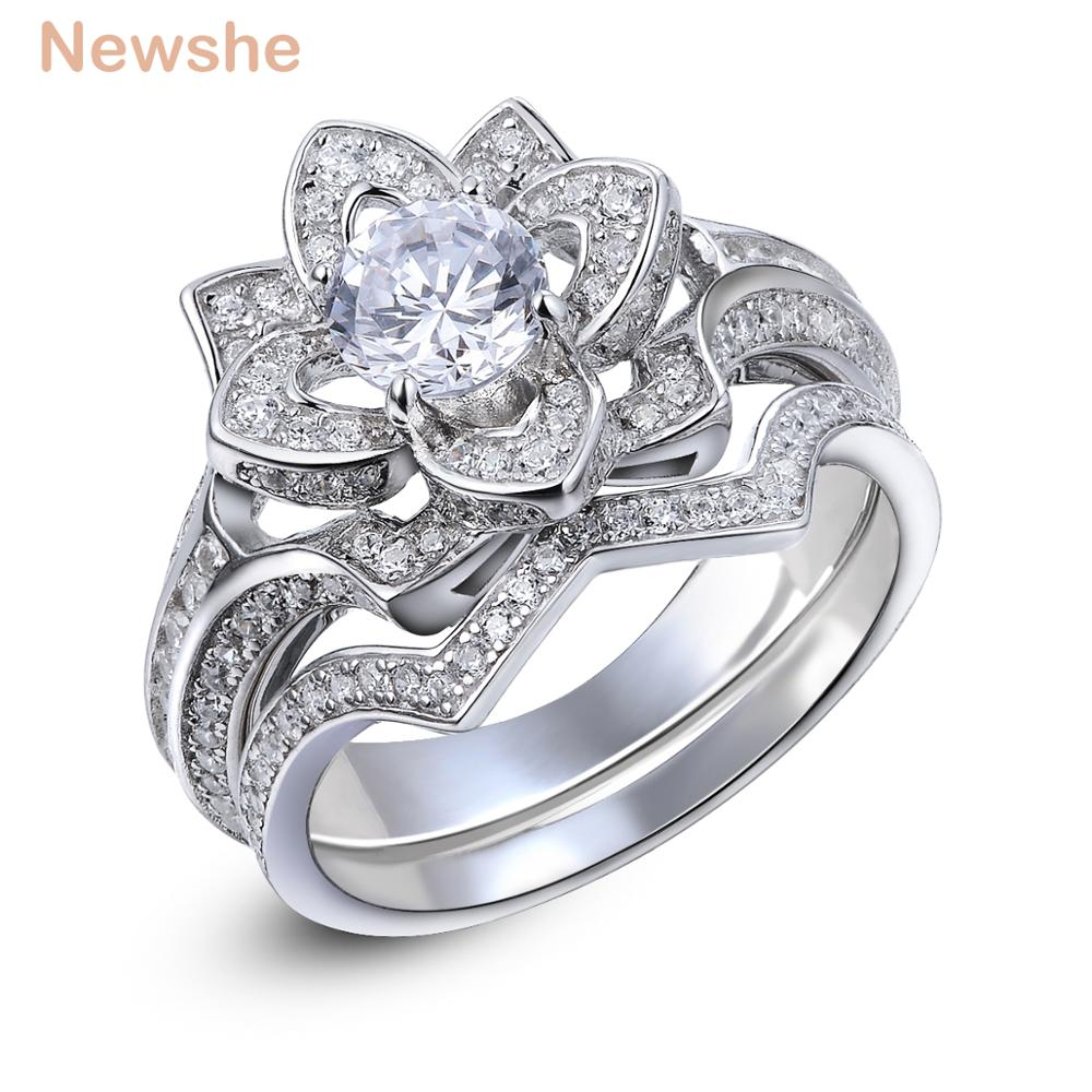 Flower Halo Wedding: Newshe 2.2 Ct Flower Wedding Ring Set Solid 925 Sterling