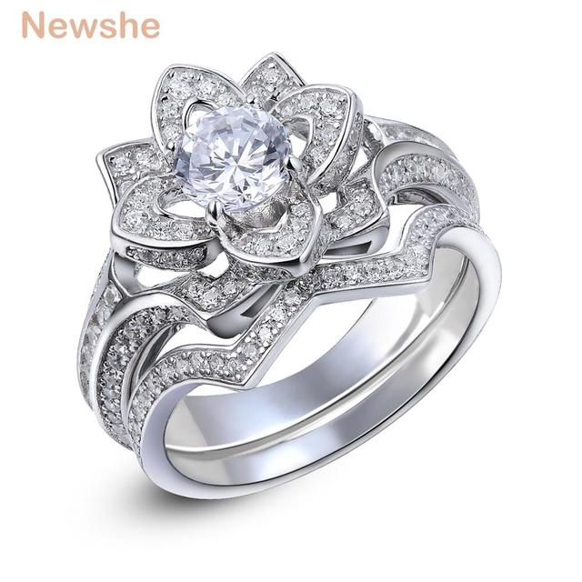 Newshe 22 Ct Flower Wedding Ring Set Solid 925 Sterling Silver