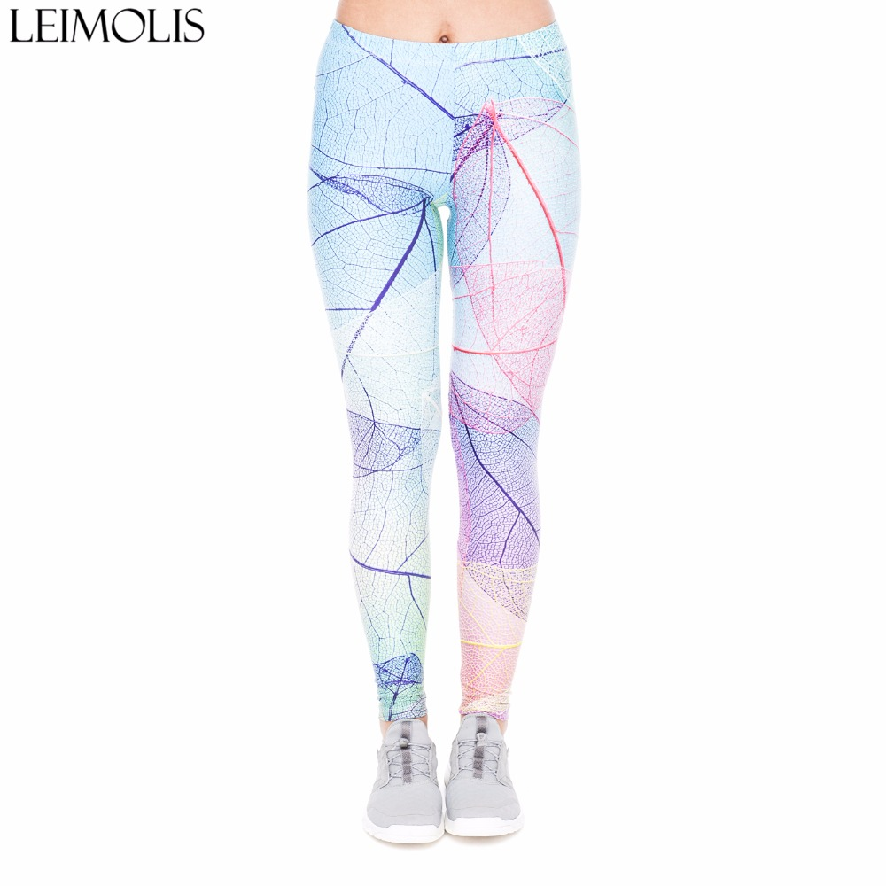 LEIMOLIS 3D printed blue Rainbow leaves harajuku plus size high waist push up fitness workout   leggings   women Casual pants punk