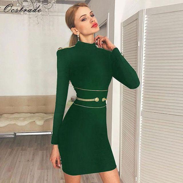 5d43f2cb6c2d6 Ocstrade Noel Parti Seksi Bandaj Elbise Kış 2019 Yeni Gelenler Yeşil Yüksek  Boyun Kadınlar Uzun Kollu Bodycon