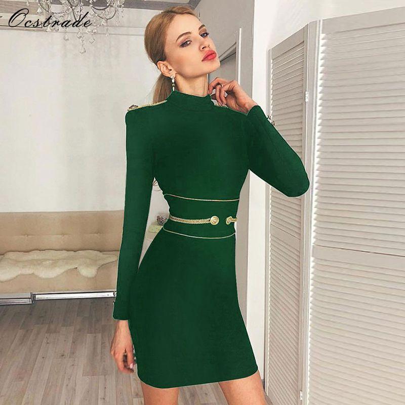 Ocstrade fête de noël Sexy Bandage robe hiver 2019 nouveaux arrivants vert col haut femmes à manches longues Bandage robe moulante