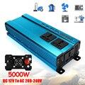 Универсальный разъем 5000 Вт автомобильный ЖК-солнечный инвертор постоянного тока 12/24 в переменный ток 220 В синусоидальный преобразователь USB...