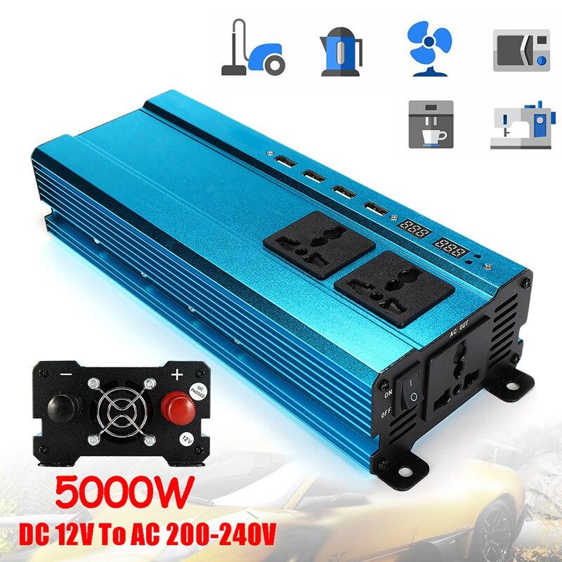 ユニバーサルプラグ 5000 ワット車の LCD 太陽光発電インバーター DC 12/24 ボルト ac 220 ボルト正弦波 USB 変換器のアルミニウム合金