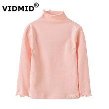 VIDMID NEW fashion kids long sleeve t-shirts baby girls cotton Bottoming shirt Turtleneck solid baby girls clothing 1056 03