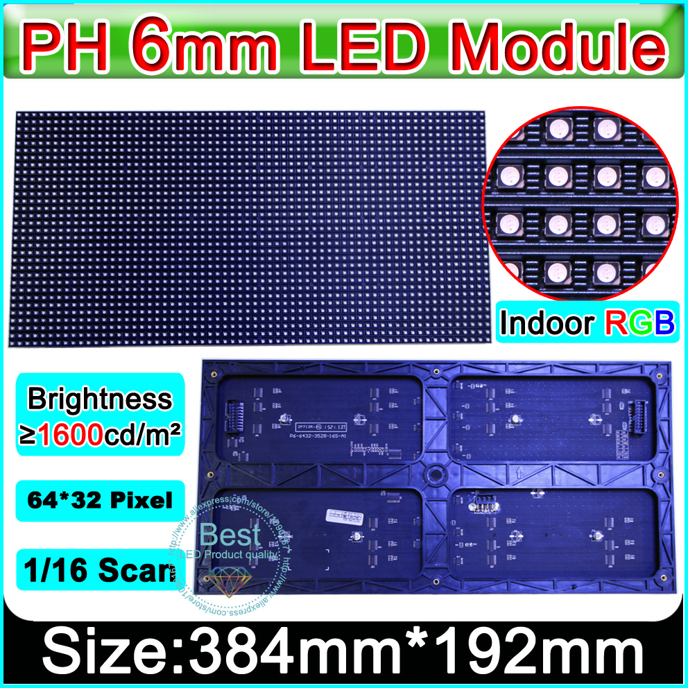 SMD 3in1 P6 Indoor full color Led Display Modules  / 64x32pixel / 1/16 scanning / p6 RGB led display module video panelSMD 3in1 P6 Indoor full color Led Display Modules  / 64x32pixel / 1/16 scanning / p6 RGB led display module video panel