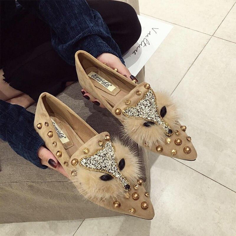 SWYIVY Woman Flats Shoes Rivet Pointed 2019 Spring Female Fashion Rhinestone  Casual Shoes Lady Elegant Slip On Flats Woman Fox c9ca48ee10a0