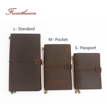 Caderno do viajante do vintage diário feito à mão de couro genuíno do couro espiral solta folha agora comprar 1 livro obter acessórios