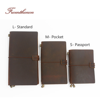 Vintage Traveler's Notebook Handmade Journal Genuine Leather Cowhide Diary Spiral Loose Leaf Now BUY 1 Book Get Accessories - discount item  20% OFF Notebooks & Writing Pads