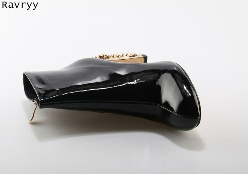 Femenino Mujer Charol Rhinestone Decoración Corto As Moda Picture Diseño Bling De Botas as Talón Picture Oro Botines Bloqueo Lujo Negro 56qPAP