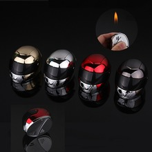 Creative personality new exotic inflatable lighter open flame gas lighter fun life funny helmet lighter creative flame dragon pattern lighter antique brass