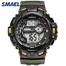 SMAEL Brand Mens Watches LED Digital Watch Men Wrist Black Alarm 50m Waterproof Sport For Relogio Masculino
