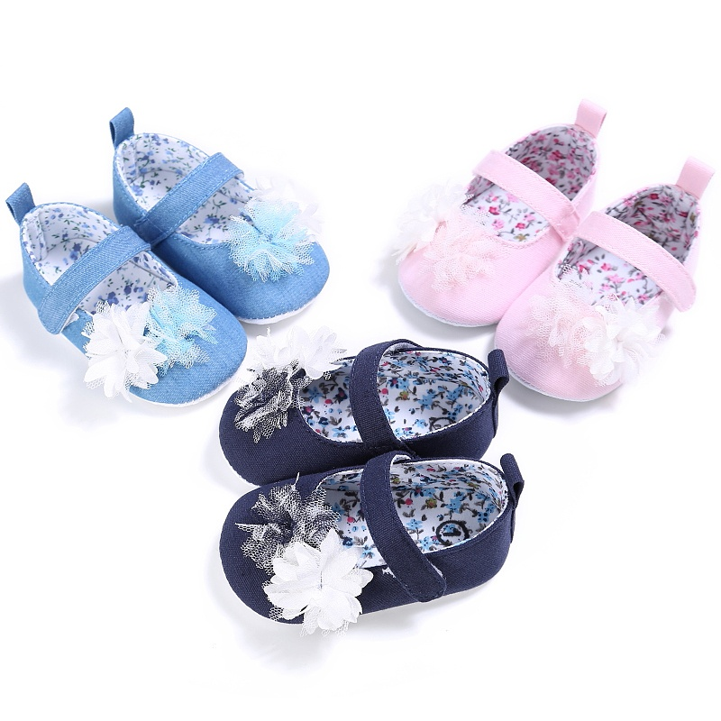 Vintage Girls Spring Cute Newnorn Kids Flower Princess Non-slip Soft Bottom Baby Cack Shoes