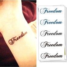 M-theory English Words Freedom Flash Tatoos Sticker 10.5x6cm Henna Selfie Temporary Body Art Tattoo Sticker Swimsuit Makeup