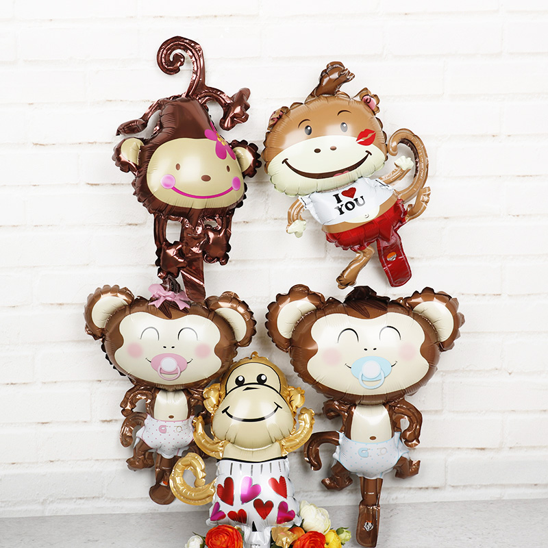 Us 3 15 31 Off 10pcs Mini Animal Foil Balloons Monkey Toy Birthday Party Decorations Balls Kids Lovely Toy Baby Shower Party Supplies Air Gifts In