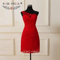 Роза Moda красный Кружево платье подружки невесты одно плечо Короткие Подружкам невесты официальная Вечеринка платье фрейлины платье