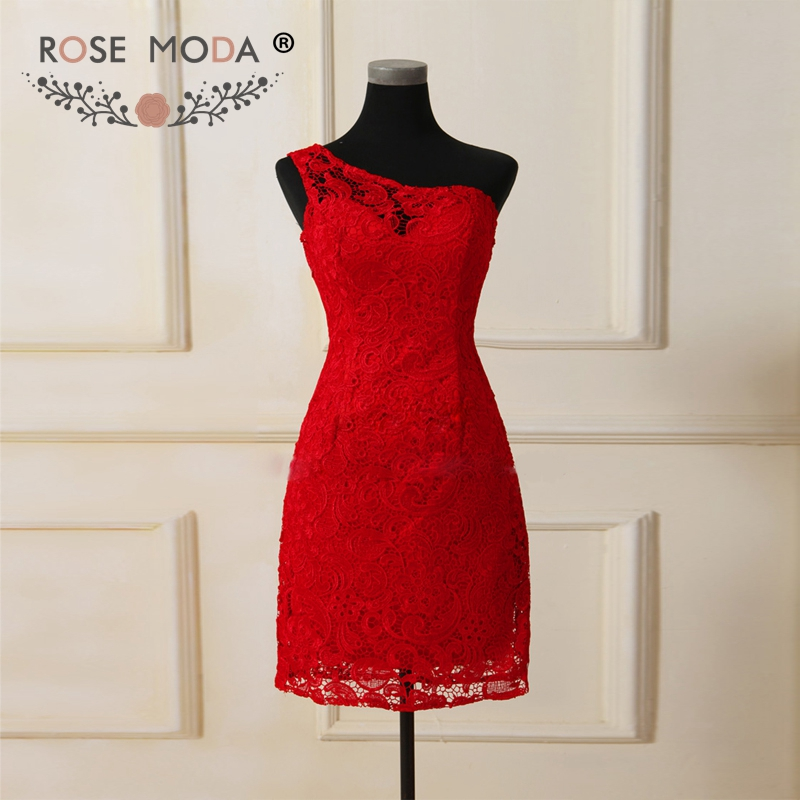 Rose Moda Red Lace   Bridesmaid     Dress   One Shoulder Short   Bridesmaid     Dresses   Formal Party   Dress   Maid of Honor   Dress