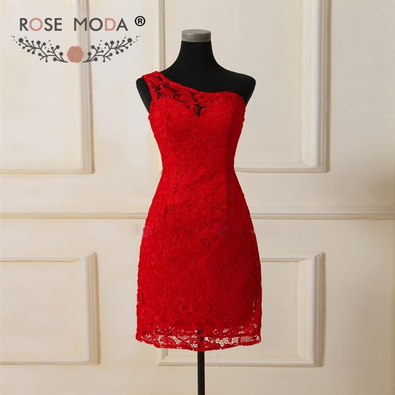 Subiu Moda Vermelho Rendas Vestido de Dama de honra de Um Ombro Curto Vestidos de Dama de honra Formal Vestido de Festa Vestido Dama de Honra Vestido