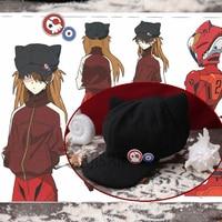 כובע עבור souryu athemis eva אסוקה לנגלי חתלתול חתול סגנון צמר חומר רחיץ קוספליי אבזרים