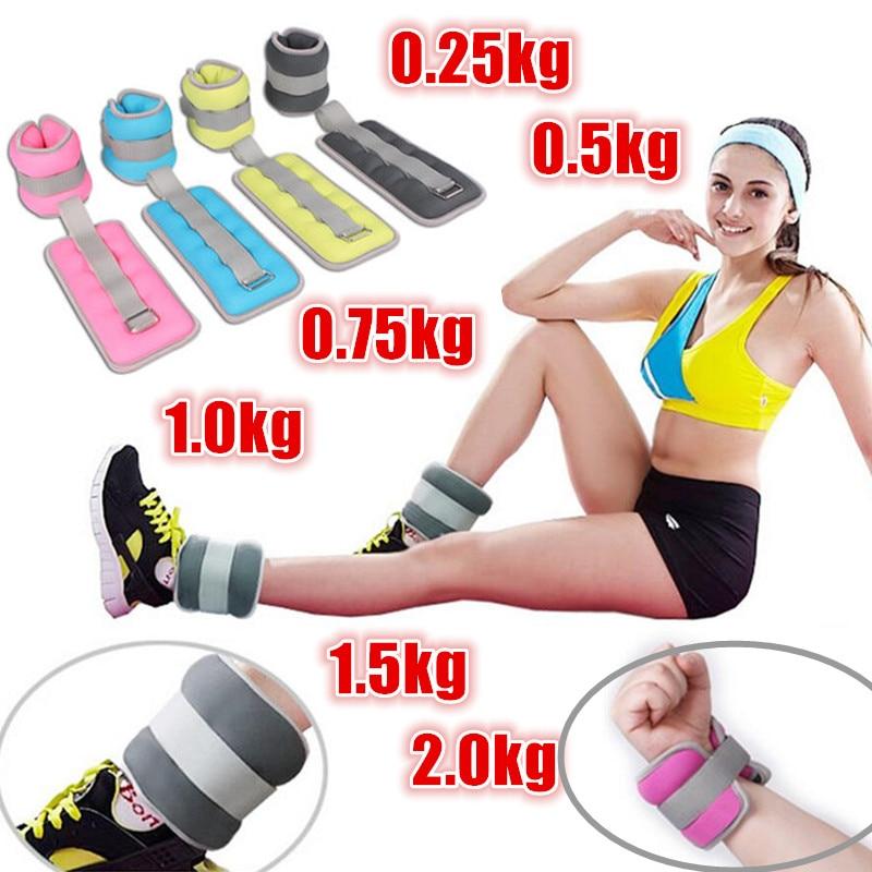 1 Pair 0.25kg-2kg Adjustable Leg Ankle Wrist Sand Bag Weights Training Sandbag Wraps Strength GYM Running MMA Fitness Equipment