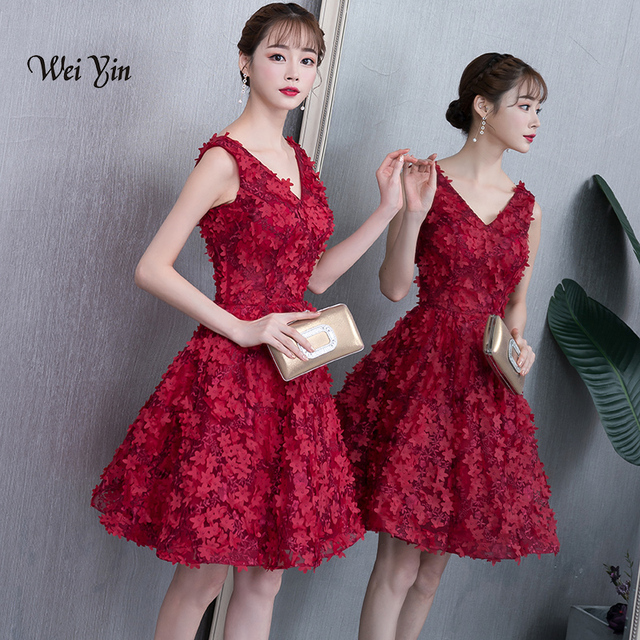 4ba5c2f408677 weiyin Real Images Lace Burgundy Red Cocktail Dress Party Mini ...