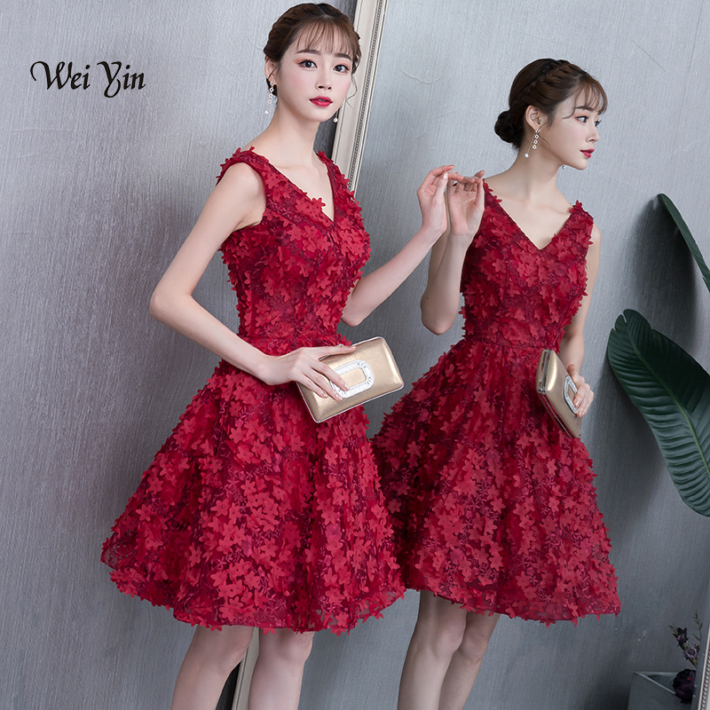 weiyin Real Images Lace Burgundy Red   Cocktail     Dress   Party Mini   Dresses   A-line Couture Party   Dresses   Vestidos   Cocktail   WY915
