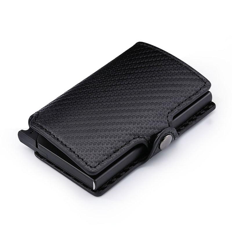 RFID 2019 Fashion Men's Carbon Fiber Leather Credit Card Holder Automatic Aluminum Metal Cardholder Male Wallet Slim Case Purse