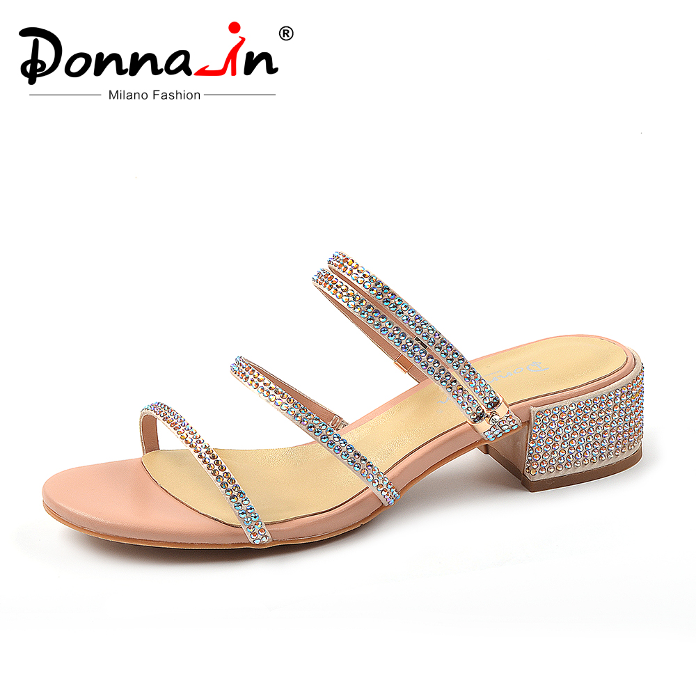 Ayakk.'ten Orta Topuklu'de Donna in 2019 Yeni Kadın Yaz Sandalet Strappy Gladyatör Rhinestones Ayakkabı Hakiki Deri Kalın Yüksek Topuklu Burnu açık Terlik'da  Grup 1