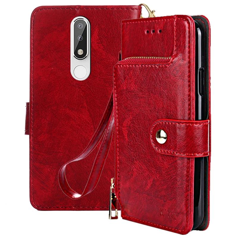 Flip Case For Nokia 5.1 Plus Case 5.86' Zipper Wallet PU Leather Stand Cover For Nokia X5 Case For Nokia 5.1 Plus  X 5 Case