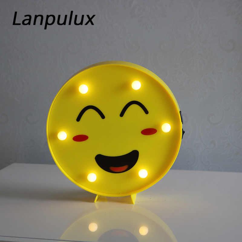 Lanpulux Sáng Tạo 3D Khuôn Mặt Biểu Cảm Đèn Chat Nụ Cười Để Bàn Trang Trí Cô Gái Phòng Ngủ Cưới Trang Trí Tiệc Đêm Đèn Luminaria