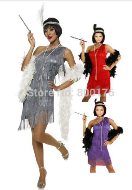 free shipping halloween costumes for women 459 g58 1920s roaring 20s black red flapper costume charleston