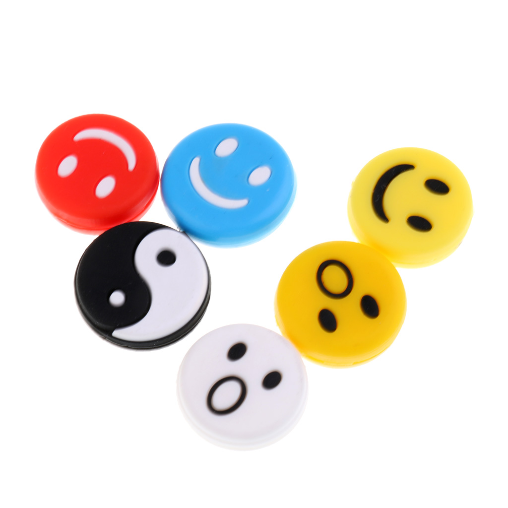 6Pcs Mixed Color Silicone Tennis Racquet Vibration Dampener Tennis Strings Shock Absorber Reduce The Shock Of Ball