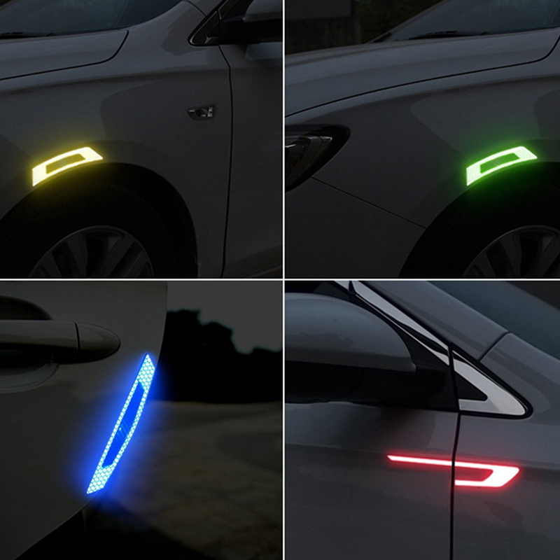 2Pcs Reflective Warning Strip Tapes Car Bumper Reflector Stickers Decals Safety