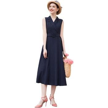 Sommer Büro Dame Kerb Kleid Navy Ärmel Formalen Mode Designer mit Gürtel Kleid Frau RR10021