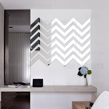 9Sets Mirror Wall Stickers Sticker Room Decoration Home Decor For Decorative Vinyl Wave Stripe Geometry Simple Shape Tiles R185