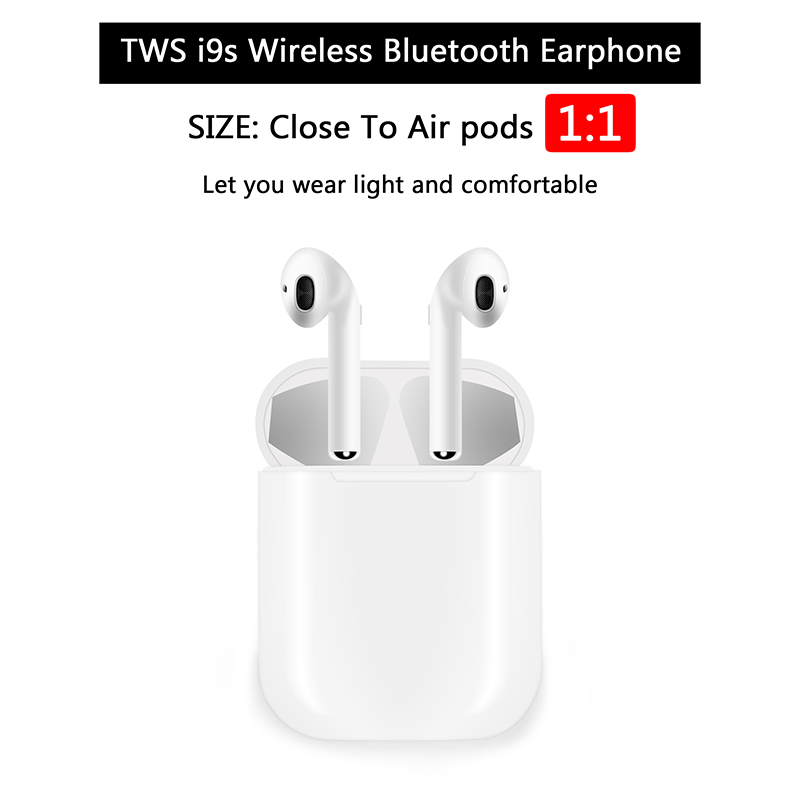Earbuds IFANS I9 TWS Bluetooth Earphone Mini Wireless In Ear Headset V4.2 Stereo Headphones Charger Box For IOS Android iphone tws 5 0 bluetooth earphone touch control stereo music in ear type ipx6 waterproof wireless earbuds with charging box yz209