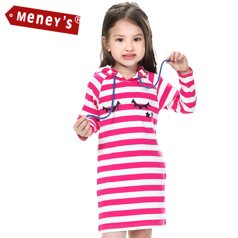 Meney's WD 004 Autumn Kids Dress 2017 Pink Striped Girls Active Clothes  Baby Hoodies Long Sleeves Christmas Straight Dresses kids dress autumn kids  dressstriped girls - AliExpress
