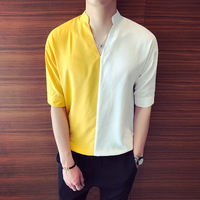 Summer New Social Men's Short sleeved Shirt Personality Stitching Loose Fashion Business British Style Casual Hawaii Shirt Man