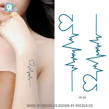 Disposable Waterproof Women Fake Tattoo Stickers Harajuku Large Ecg Pattern Temporary Tattoos Sticker