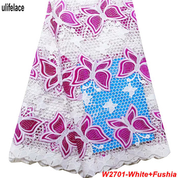 Newest Fancy White Silk milk Lace fabrics Embroidery African Guipure Lace High Quality cord lace fabric with Rhinestones W2-701