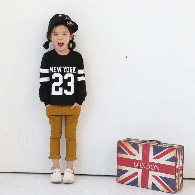 2016 Primavera outono 2-7Y bebê camisola dos miúdos longo-manga comprida t-shirt das meninas dos meninos com capuz de algodão roupas de Lã para crianças