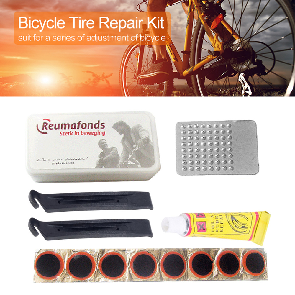Bicycle Tire Repair Kits Mountain Bike Repair Tool Cycling Flat Tire Repair Rubber Patch Glue Lever Set Tire Fix Kit Accessories