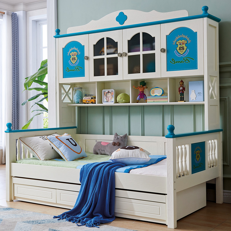 Children Bunk Bed Multi-functional Wardrobe Combination Bed With Bookshelf Wholesale